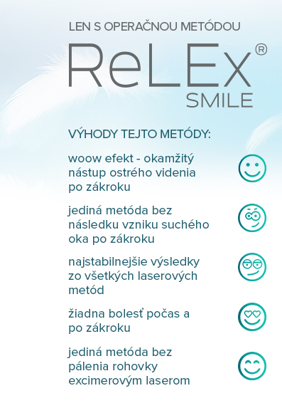 LEN S OPERAČNOU METÓDOU RELEX SMILE 3D BEZ REZU A BEZ BOLESTI